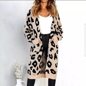 Leopard Print Long Knit Cardigan